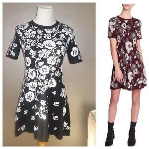 KENZO Floral Jacquard Fit & Flare Mini Dress